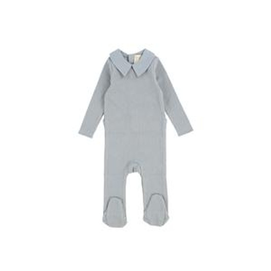 Soft Blue Collared Footie
