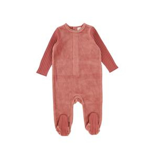 Velour / Ribbed Sunset Mauve Footie