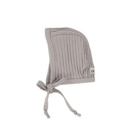 Wide Ribbed Dove Grey Bonnet