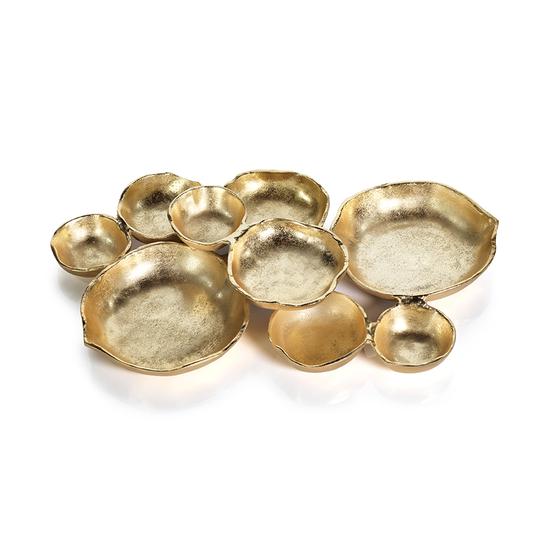 """Twelve Gold Cluster Bowl- Large-18"""""""