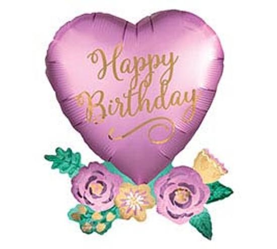 "Helium Birthday Heart Balloon Extra Large 30"""