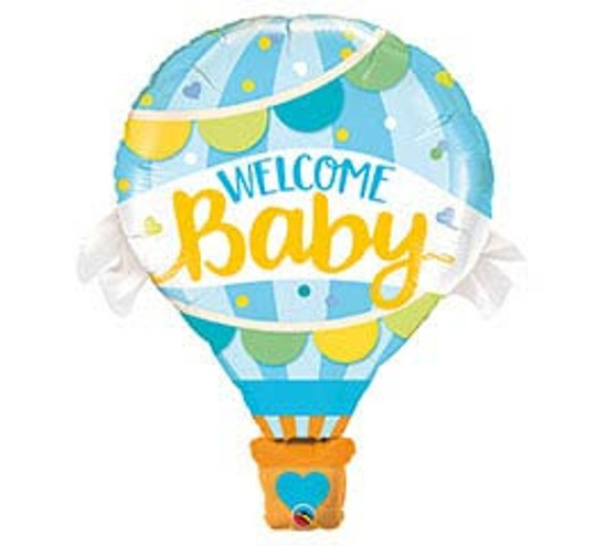 """Helium Baby Boy Hot Air Balloon Extra Large- 42"""""""