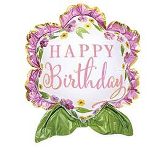 "Helium Birthday Flower Balloon Large- 27"""