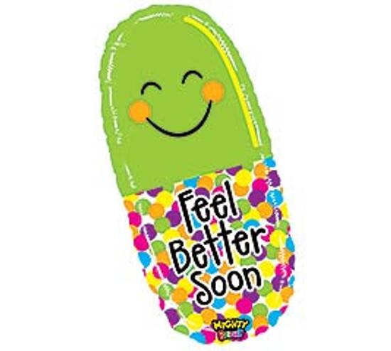 "Helium Feel Better Pill Balloon Large- 29"""