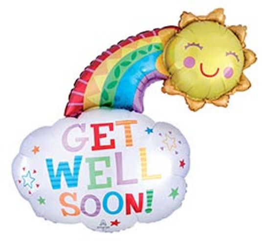 "Helium Get Well Rainbow Balloon Extra Large- 30"""