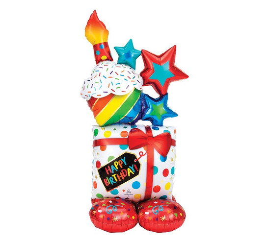 "Happy Birthday Extra Large Standing  Balloon  -55"" Tall!"