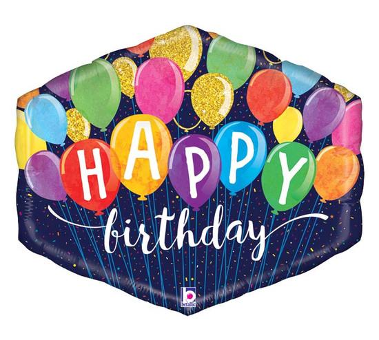 "Helium Birthday Hexagon Balloon Extra Large- 30"""