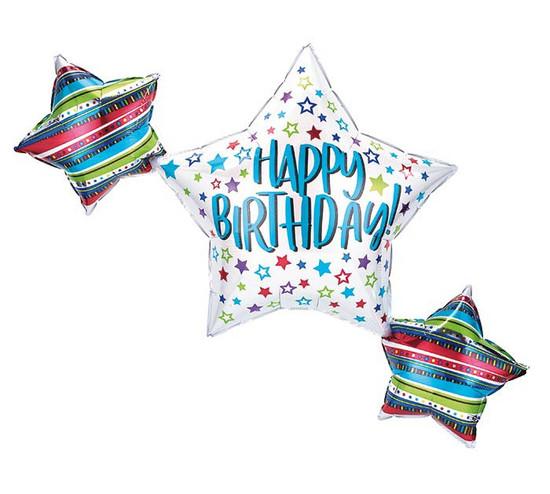 "Helium Birthday Star Trio Balloon- 39"""