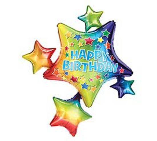 "Helium Birthday Star Cluster Balloon- 35"""