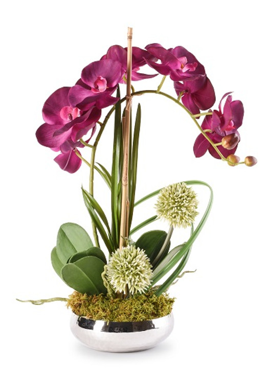 Orchid Floral In Silver Planter
