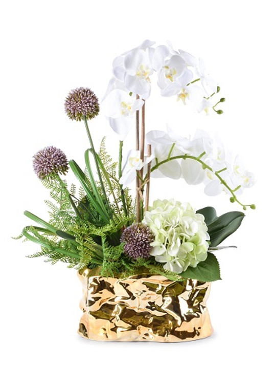 Floral Centerpiece In Crinkled Gold Planter