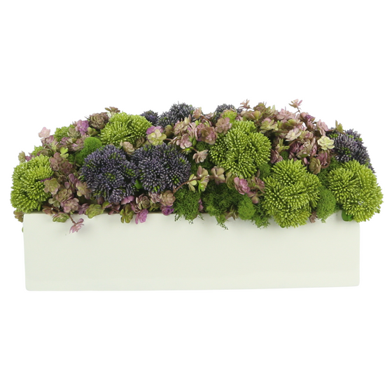 SOLD OUT! Floral  White Rectangular Planter-16""