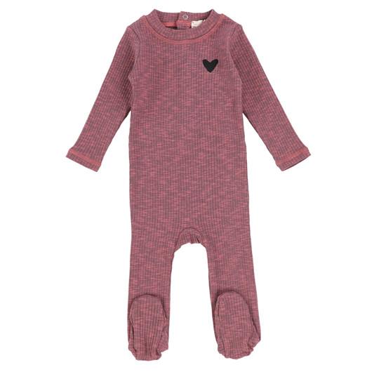 Lil Legs Marled Footie- Pink