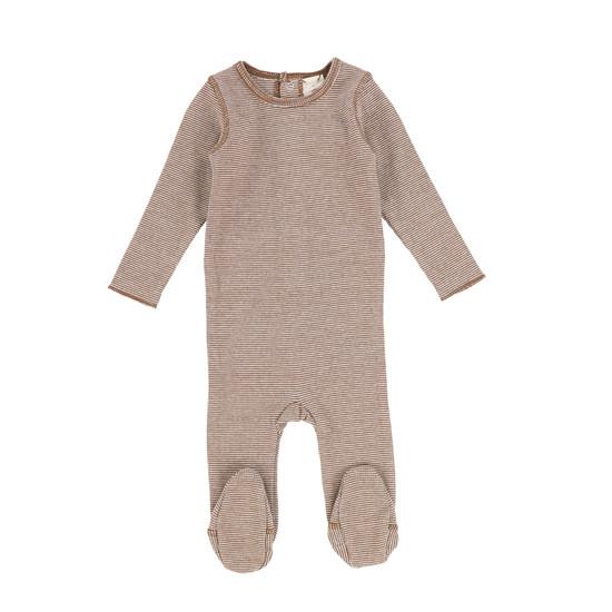 Lil Legs Mini Striped Footie-Brown