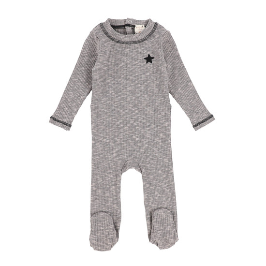 Lil Legs Marled Footie -Grey