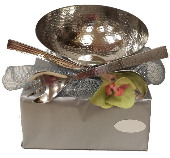 Hammered Metal Salad Bowl With Matching Salad Servers