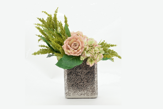 Floral Centerpiece in Silver Square Vase