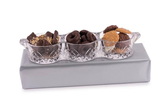 Crystal Relish Dish With Chocolates