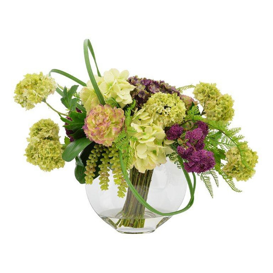 Floral Centerpiece With Oval Glass Vase