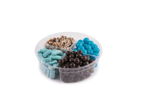 Candy Platter 4 Section -Blue