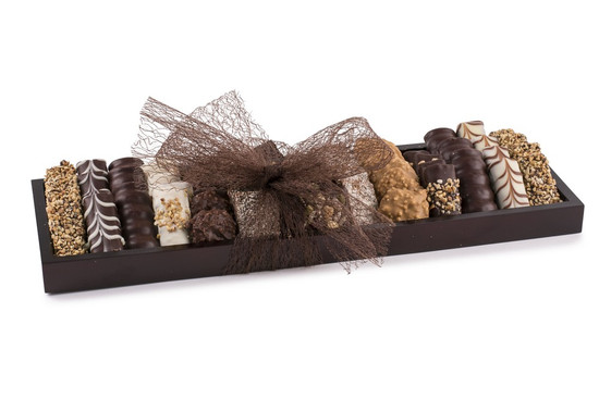 Assorted Fine Chocolates on Wooden Tray -Medium