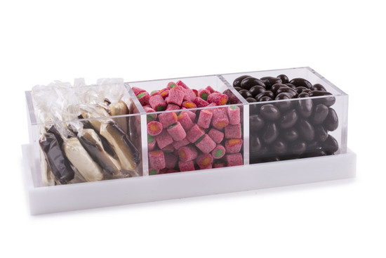 Acrylic 3 Section Server With Chocolate Assortment