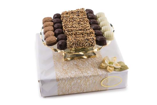 "Assorted Truffles on Elegant Cake Plate- 9"""