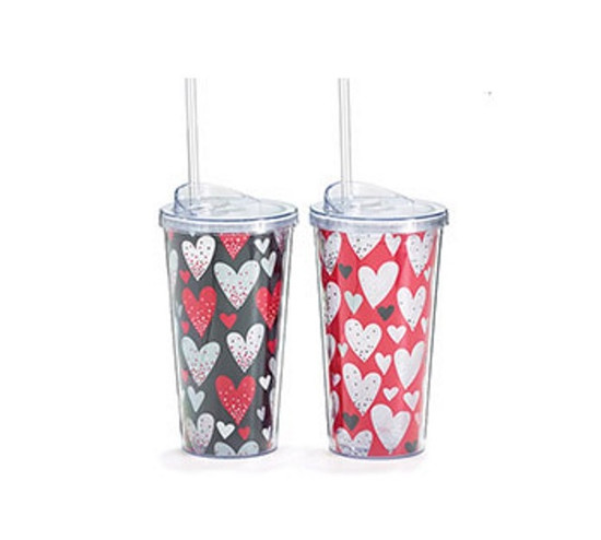 Tumbler- Black Red And White Hearts