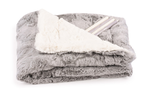 Baby Blanket Luxe Grey/Cream With Candy Sticks