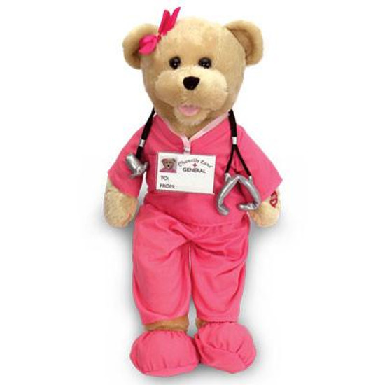 """Nurse in Pink Scrubs Bear -Sings """"I'll Be There For You."""""""