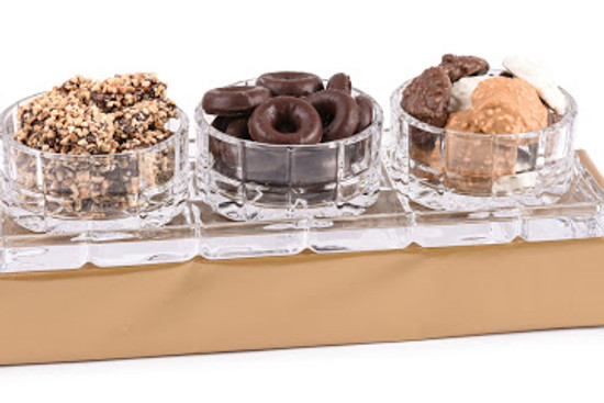 Crystal Relish Dish On Tray With Chocolate
