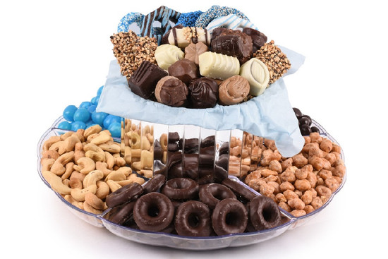 Chocolate Candy Nut Double Tier Platter-Blue         Local Delivery Only