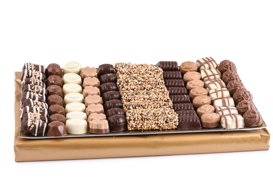 Assorted Chocolates on Glass Tray -Large