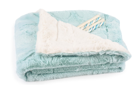 Baby Blanket Luxe Seafoam/Cream With Candy Sticks