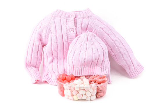 Baby Girl Sweater Set With Candy Platter