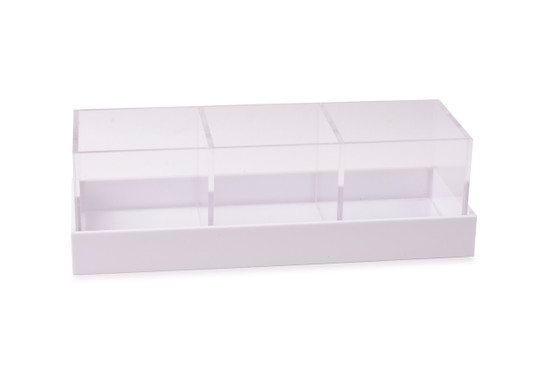 Acrylic 3 Section Long Server with Cover-12""
