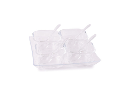 Acrylic Relish Tray with Spoons