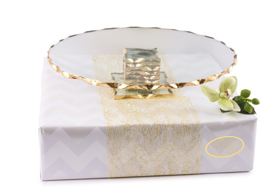 """Cake Stand with Gold Rim -13"""""""
