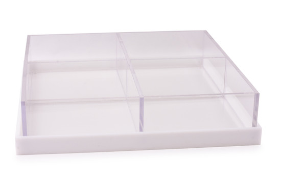 """Acrylic 4 Section Large Square with Base/ Cover-12"""""""