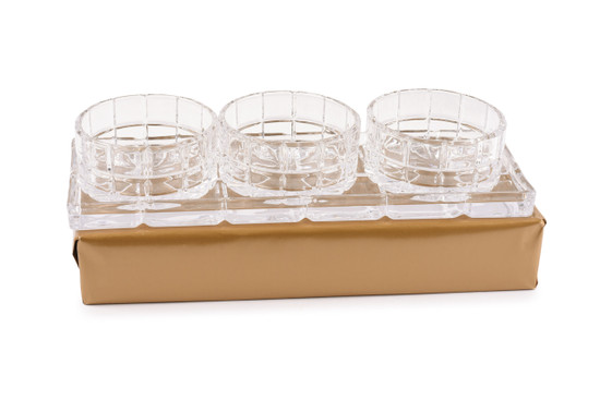 Crystal Relish Dishes On Tray