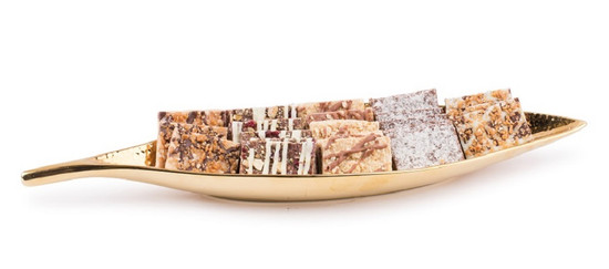 """Gold Leaf Tray with Chocolate Bark-15"""""""