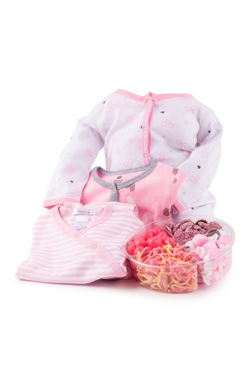 PInk Baby Outfit with Platter (Displayed in Acrylic Cylinder)