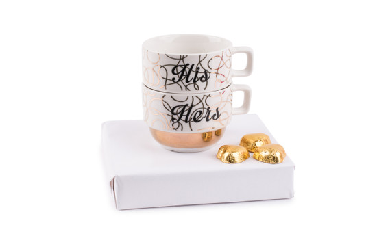 Gold & White His and Hers Stackable Mugs With Chocolate Hearts