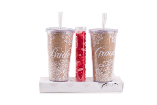 Bride & Groom Tumblers With Candy
