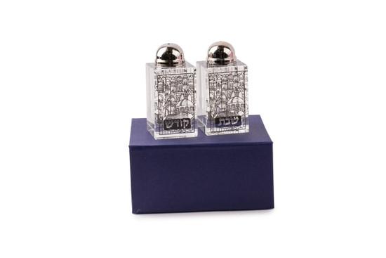 Crystal and Silver Shabbos Kodesh Salt Shakers