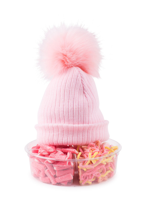 Pom Pom Hat -Pink Knit-with Candy Platter