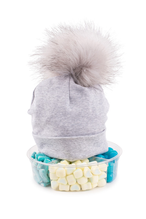 Pom Pom Hat-Grey Cotton- with Candy Platter