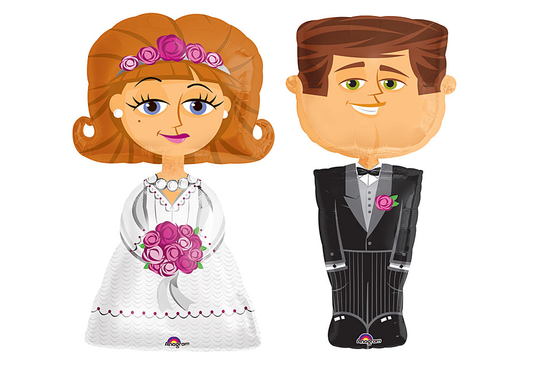 "Bride and Groom Balloons Set 46-50""  (Local Delivery Only)"