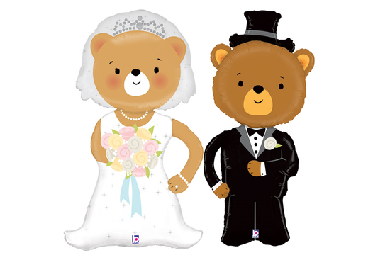 """Bride and Groom Bear Balloons Set-40""""-46""""  (Local Delivery Only)"""