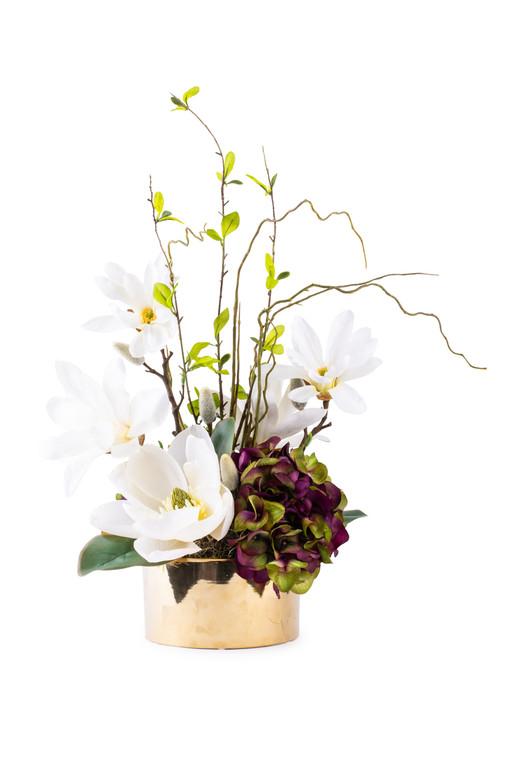 Hydrangeas and Magnolias in Gold Round Vase
